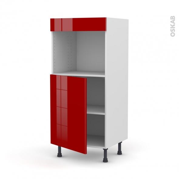 Colonne de cuisine N°21 - Four encastrable niche 45 - STECIA Rouge - 1 porte - L60 x H125 x P58 cm