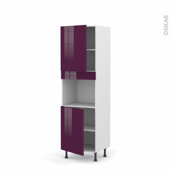 Colonne de cuisine N°2121 - Four encastrable niche 45 - KERIA Aubergine - 2 portes - L60 x H195 x P58 cm