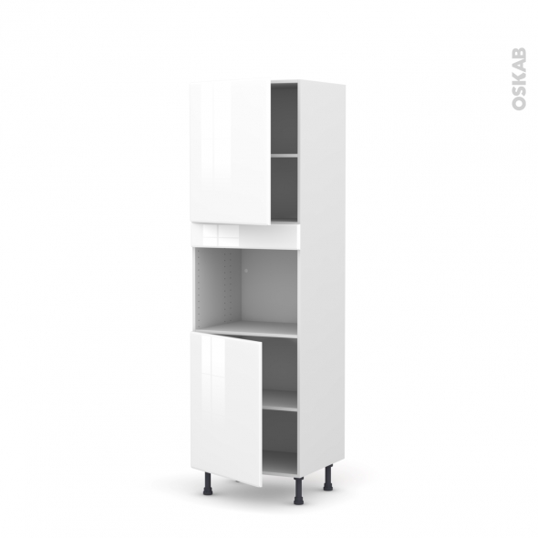 Colonne de cuisine N°2121 - Four encastrable niche 45  - IRIS Blanc - 2 portes - L60 x H195 x P58 cm
