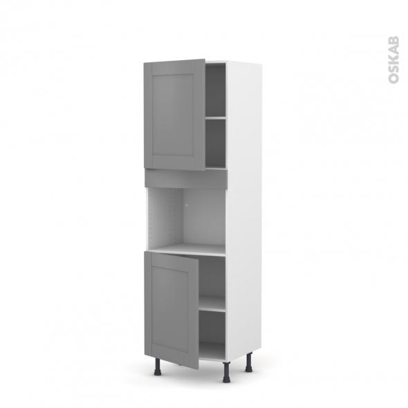 Colonne de cuisine N°2121 - Four encastrable niche 45  - FILIPEN Gris - 2 portes - L60 x H195 x P58 cm