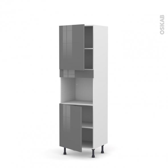 Colonne de cuisine N°2121 - Four encastrable niche 45  - STECIA Gris - 2 portes - L60 x H195 x P58 cm