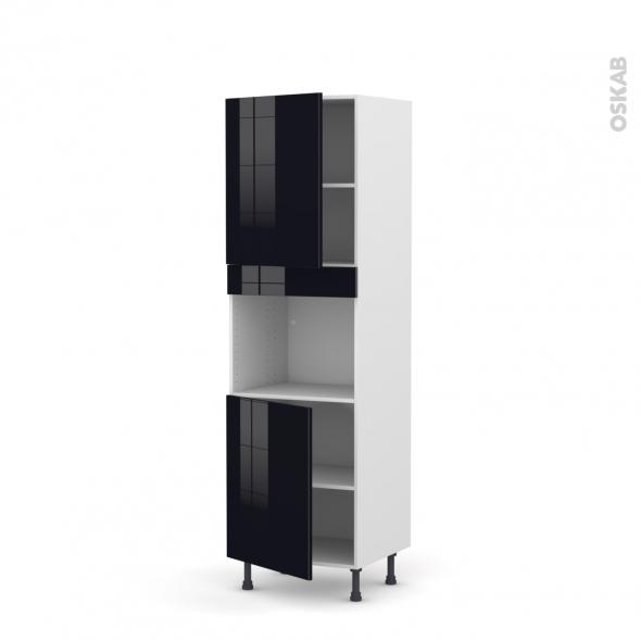 KERIA Noir - Colonne Four niche 45 N°2121  - 2 portes - L60xH195xP58