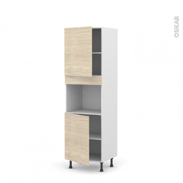 Colonne de cuisine N°2121 - Four encastrable niche 45  - STILO Noyer Blanchi - 2 portes - L60 x H195 x P58 cm
