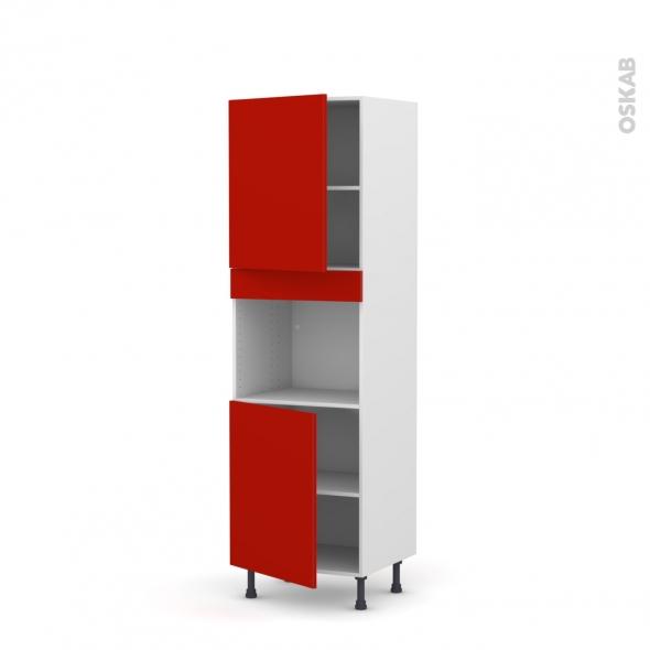 GINKO Rouge - Colonne Four niche 45 N°2121  - 2 portes - L60xH195xP58