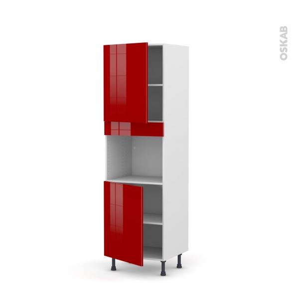 Colonne de cuisine N°2121 - Four encastrable niche 45  - STECIA Rouge - 2 portes - L60 x H195 x P58 cm