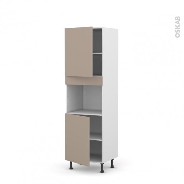 Colonne de cuisine N°2121 - Four encastrable niche 45 - GINKO Taupe - 2 portes - L60 x H195 x P58 cm