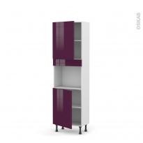 Colonne de cuisine N°2121 - Four encastrable niche 45 - KERIA Aubergine - 2 portes - L60 x H195 x P37 cm