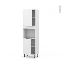 Colonne de cuisine N°2121 - Four encastrable niche 45  - GINKO Blanc - 2 portes - L60 x H195 x P37 cm
