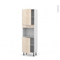 Colonne de cuisine N°2121 - Four encastrable niche 45  - IKORO Chêne clair - 2 portes - L60 x H195 x P37 cm