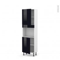 Colonne de cuisine N°2121 - Four encastrable niche 45  - KERIA Noir - 2 portes - L60 x H195 x P37 cm