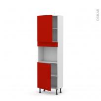 GINKO Rouge - Colonne Four niche 45 N°2121  - Prof.37  2 portes - L60xH195xP37