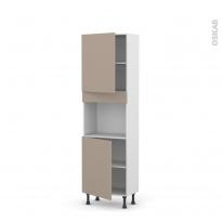 Colonne de cuisine N°2121 - Four encastrable niche 45 - GINKO Taupe - 2 portes - L60 x H195 x P37 cm