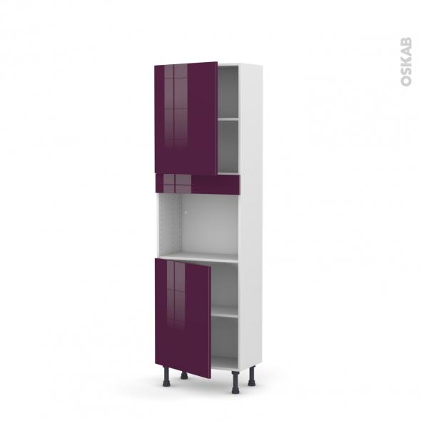 KERIA Aubergine - Colonne Four niche 45 N°2121  - Prof.37  2 portes - L60xH195xP37
