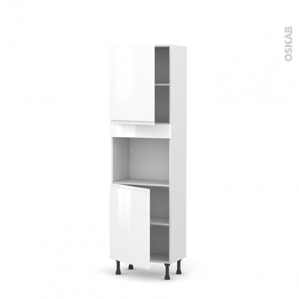 Colonne de cuisine N°2121 - Four encastrable niche 45  - IPOMA Blanc brillant - 2 portes - L60 x H195 x P37 cm