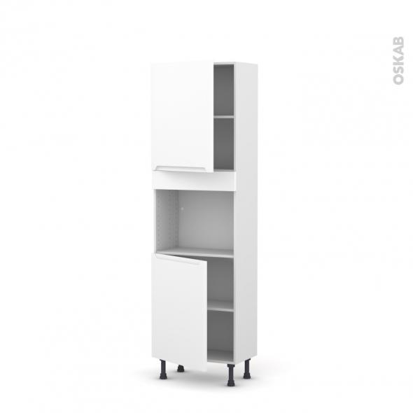 Colonne de cuisine N°2121 - Four encastrable niche 45  - PIMA Blanc - 2 portes - L60 x H195 x P37 cm