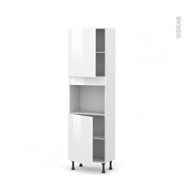 Colonne de cuisine N°2121 - Four encastrable niche 45  - STECIA Blanc - 2 portes - L60 x H195 x P37 cm