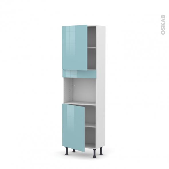 Colonne de cuisine N°2121 - Four encastrable niche 45  - KERIA Bleu - 2 portes - L60 x H195 x P37 cm