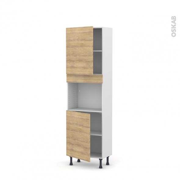 Colonne de cuisine N°2121 - Four encastrable niche 45  - HOSTA Chêne naturel - 2 portes - L60 x H195 x P37 cm