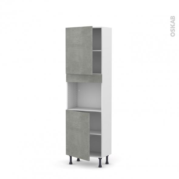Colonne de cuisine N°2121 - Four encastrable niche 45  - FAKTO Béton - 2 portes - L60 x H195 x P37 cm