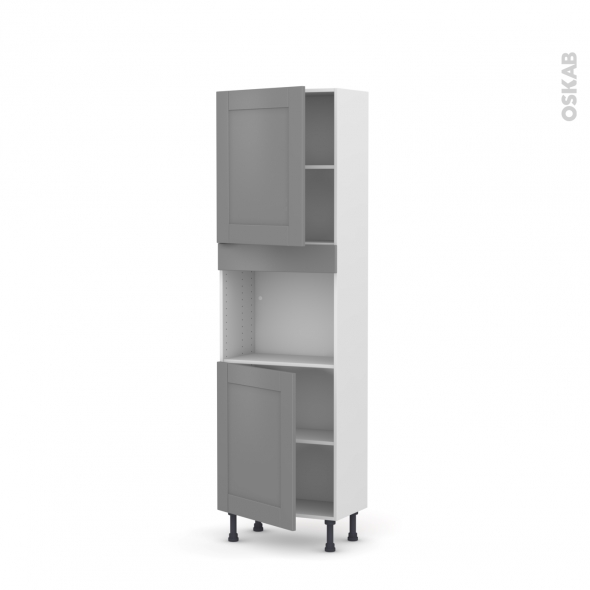 Colonne de cuisine N°2121 - Four encastrable niche 45  - FILIPEN Gris - 2 portes - L60 x H195 x P37 cm