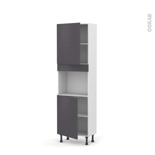 Colonne de cuisine N°2121 - Four encastrable niche 45  - GINKO Gris - 2 portes - L60 x H195 x P37 cm