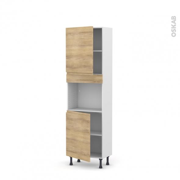 Colonne de cuisine N°2121 - Four encastrable niche 45  - IPOMA Chêne naturel - 2 portes - L60 x H195 x P37 cm