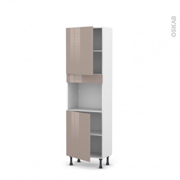 Colonne de cuisine N°2121 - Four encastrable niche 45  - KERIA Moka - 2 portes - L60 x H195 x P37 cm