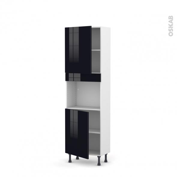 KERIA Noir - Colonne Four niche 45 N°2121  - Prof.37  2 portes - L60xH195xP37