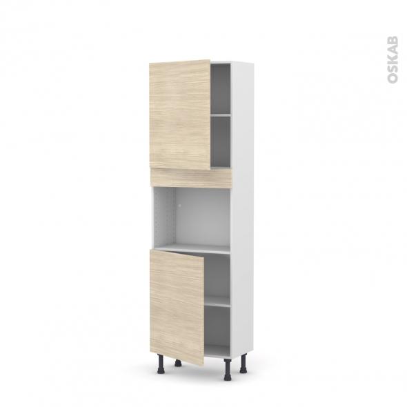 Colonne de cuisine N°2121 - Four encastrable niche 45  - STILO Noyer Blanchi - 2 portes - L60 x H195 x P37 cm