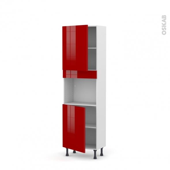 Colonne de cuisine N°2121 - Four encastrable niche 45  - STECIA Rouge - 2 portes - L60 x H195 x P37 cm