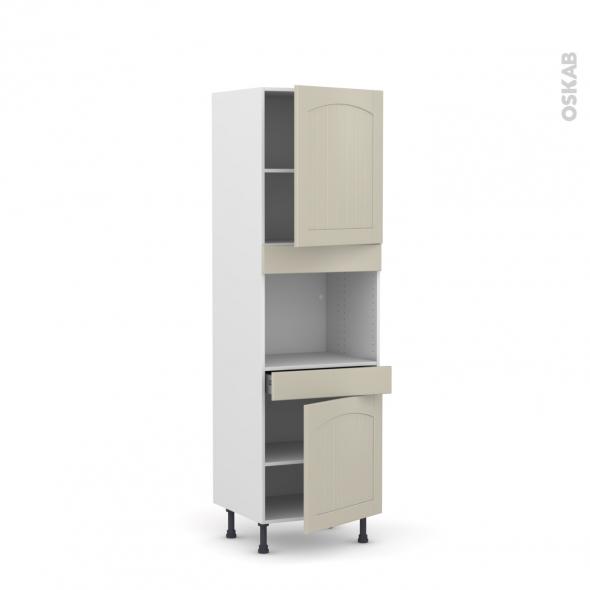 SILEN Argile - Colonne Four niche 45 N°2156  - 2 portes 1 tiroir - L60xH195xP58 - droite