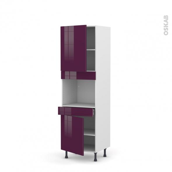 KERIA Aubergine - Colonne Four niche 45 N°2156  - 2 portes 1 tiroir - L60xH195xP58