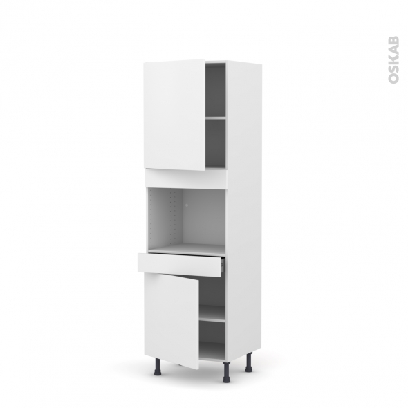 Colonne de cuisine N°2156 - Four encastrable niche 45  - GINKO Blanc - 2 portes 1 tiroir - L60 x H195 x P58 cm