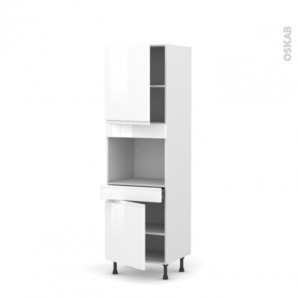 Colonne de cuisine N°2156 - Four encastrable niche 45  - IPOMA Blanc - 2 portes 1 tiroir - L60 x H195 x P58 cm