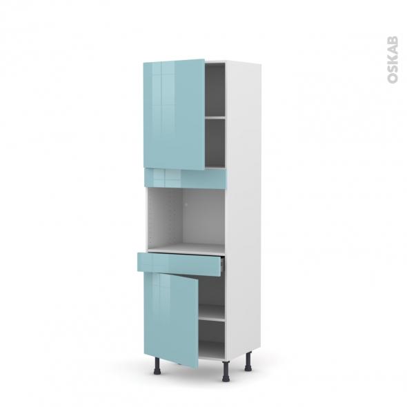 Colonne de cuisine N°2156 - Four encastrable niche 45  - KERIA Bleu - 2 portes 1 tiroir - L60 x H195 x P58 cm