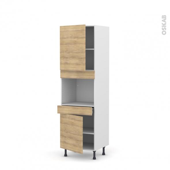 Colonne de cuisine N°2156 - Four encastrable niche 45  - HOSTA Chêne naturel - 2 portes 1 tiroir - L60 x H195 x P58 cm