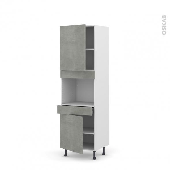 Colonne de cuisine N°2156 - Four encastrable niche 45  - FAKTO Béton - 2 portes 1 tiroir - L60 x H195 x P58 cm