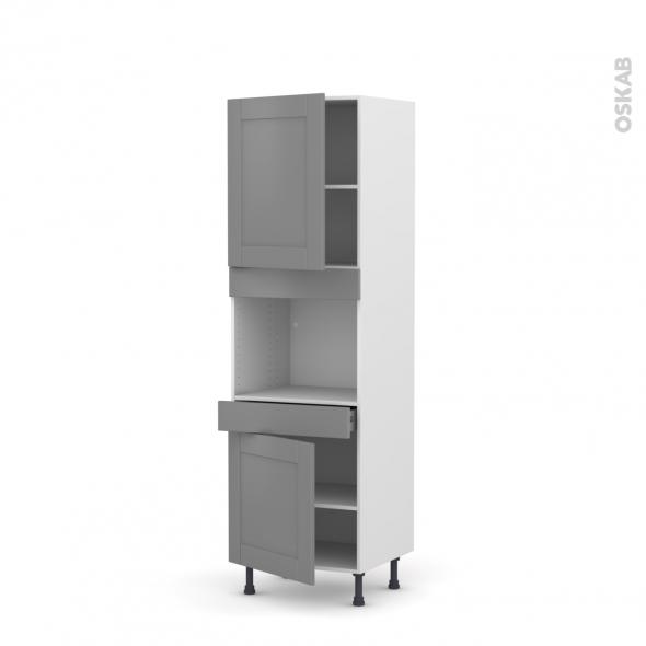 Colonne de cuisine N°2156 - Four encastrable niche 45  - FILIPEN Gris - 2 portes 1 tiroir - L60 x H195 x P58 cm