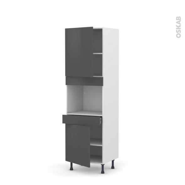 Colonne de cuisine N°2156 - Four encastrable niche 45  - GINKO Gris - 2 portes 1 tiroir - L60 x H195 x P58 cm