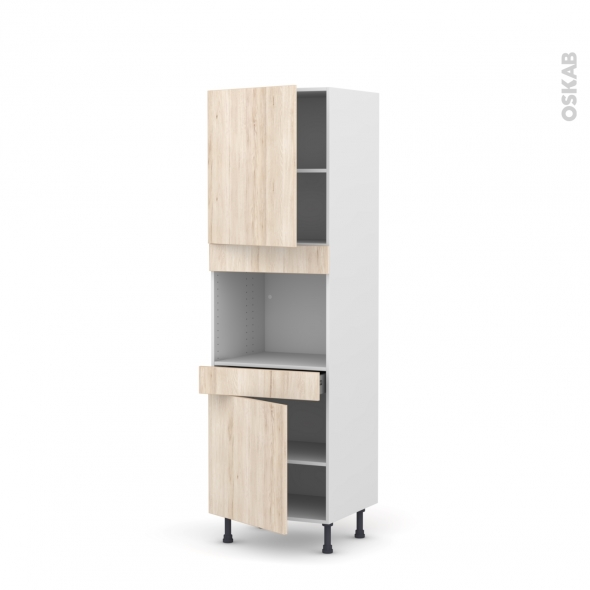 Colonne de cuisine N°2156 - Four encastrable niche 45  - IKORO Chêne clair - 2 portes 1 tiroir - L60 x H195 x P58 cm