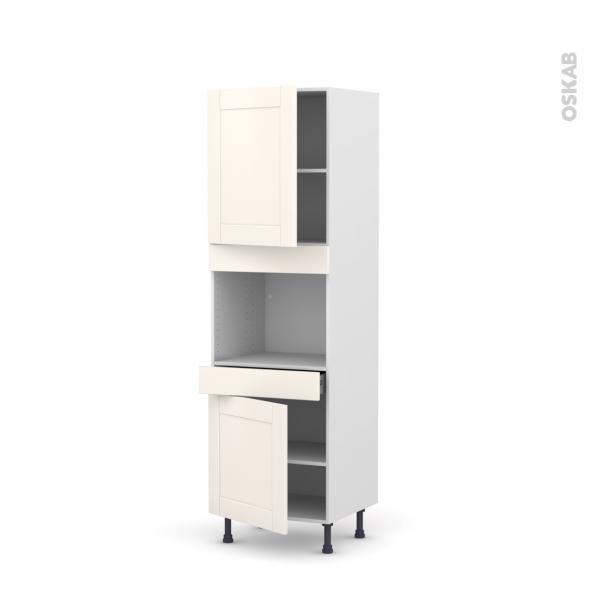 Colonne de cuisine N°2156 - Four encastrable niche 45  - FILIPEN Ivoire - 2 portes 1 tiroir - L60 x H195 x P58 cm