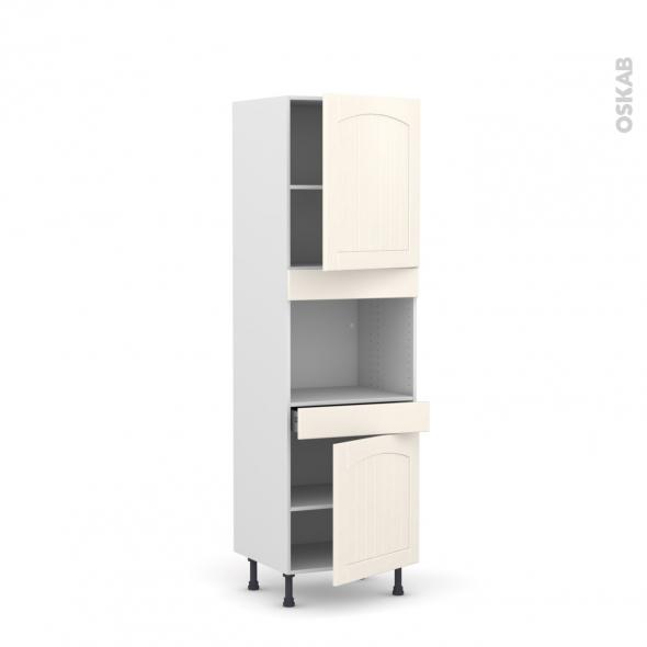 SILEN Ivoire - Colonne Four niche 45 N°2156  - 2 portes 1 tiroir - L60xH195xP58 - droite