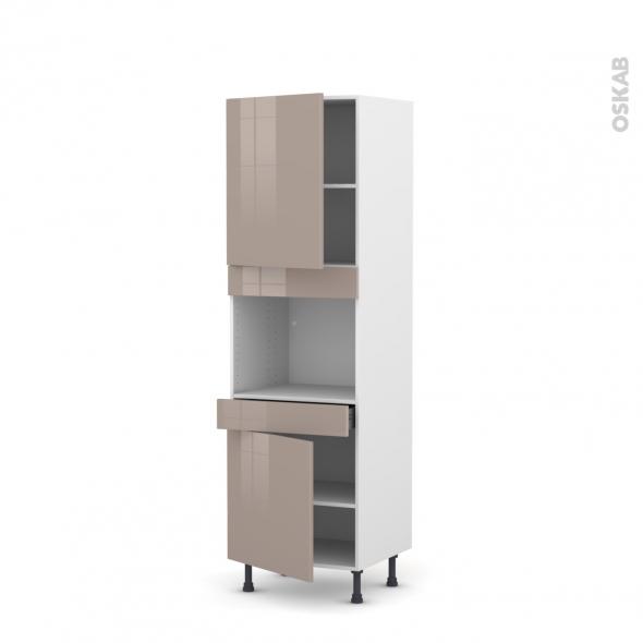 Colonne de cuisine N°2156 - Four encastrable niche 45  - KERIA Moka - 2 portes 1 tiroir - L60 x H195 x P58 cm