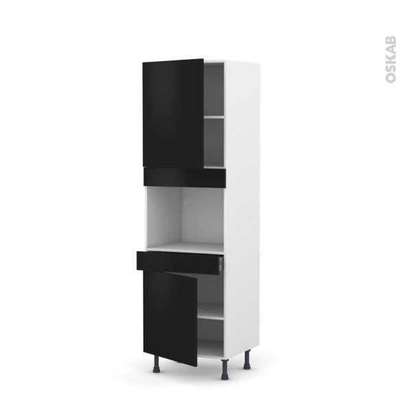 GINKO Noir - Colonne Four niche 45 N°2156  - 2 portes 1 tiroir - L60xH195xP58