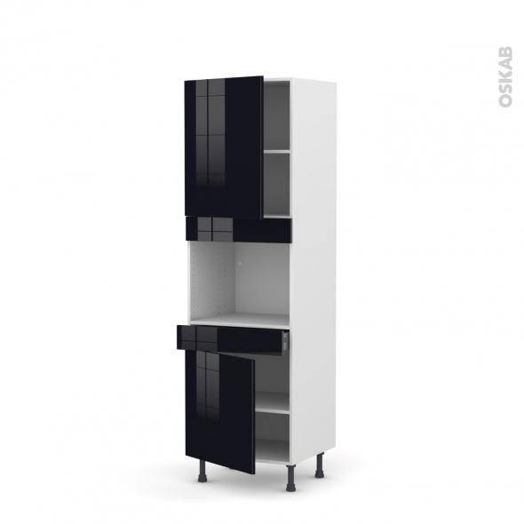 Colonne de cuisine N°2156 - Four encastrable niche 45  - KERIA Noir - 2 portes 1 tiroir - L60 x H195 x P58 cm