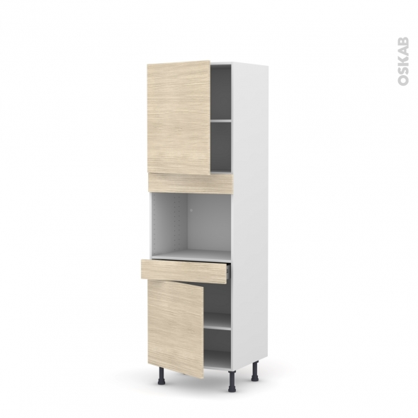 Colonne de cuisine N°2156 - Four encastrable niche 45  - STILO Noyer Blanchi - 2 portes 1 tiroir - L60 x H195 x P58 cm