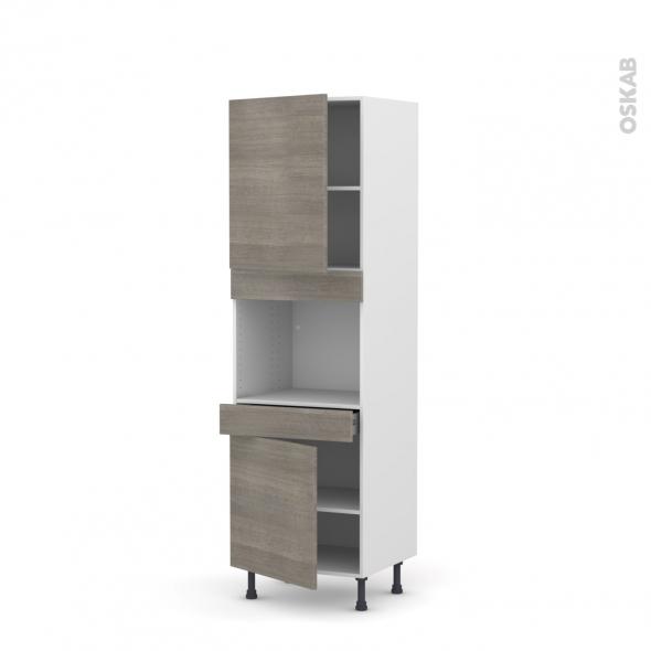 Colonne de cuisine N°2156 - Four encastrable niche 45  - STILO Noyer Naturel - 2 portes 1 tiroir - L60 x H195 x P58 cm