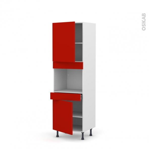 GINKO Rouge - Colonne Four niche 45 N°2156  - 2 portes 1 tiroir - L60xH195xP58