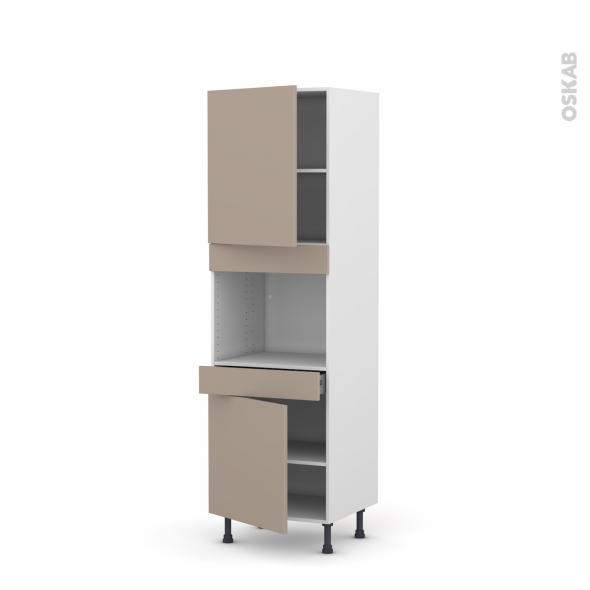 Colonne de cuisine N°2156 - Four encastrable niche 45 - GINKO Taupe - 2 portes 1 tiroir - L60 x H195 x P58 cm