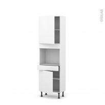 Colonne de cuisine N°2156 - Four encastrable niche 45  - GINKO Blanc - 2 portes 1 tiroir - L60 x H195 x P37 cm